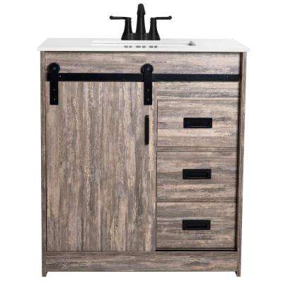 Cassidy 30 in. W x 19 in. D Bath Vanity in Rustic Ash with Engineered Stone Vanity Top in White with White Basin