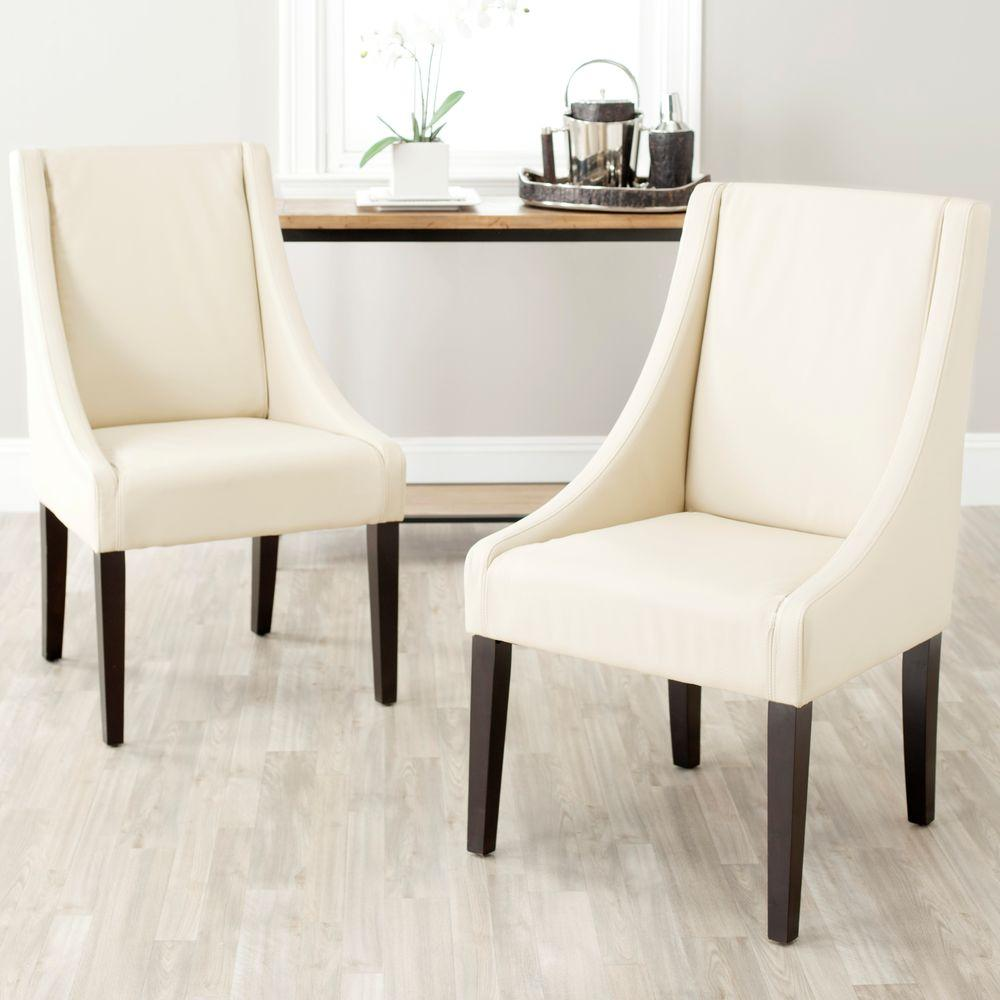 Safavieh Britannia Cream Bicast Leather Side Chair (Set Of