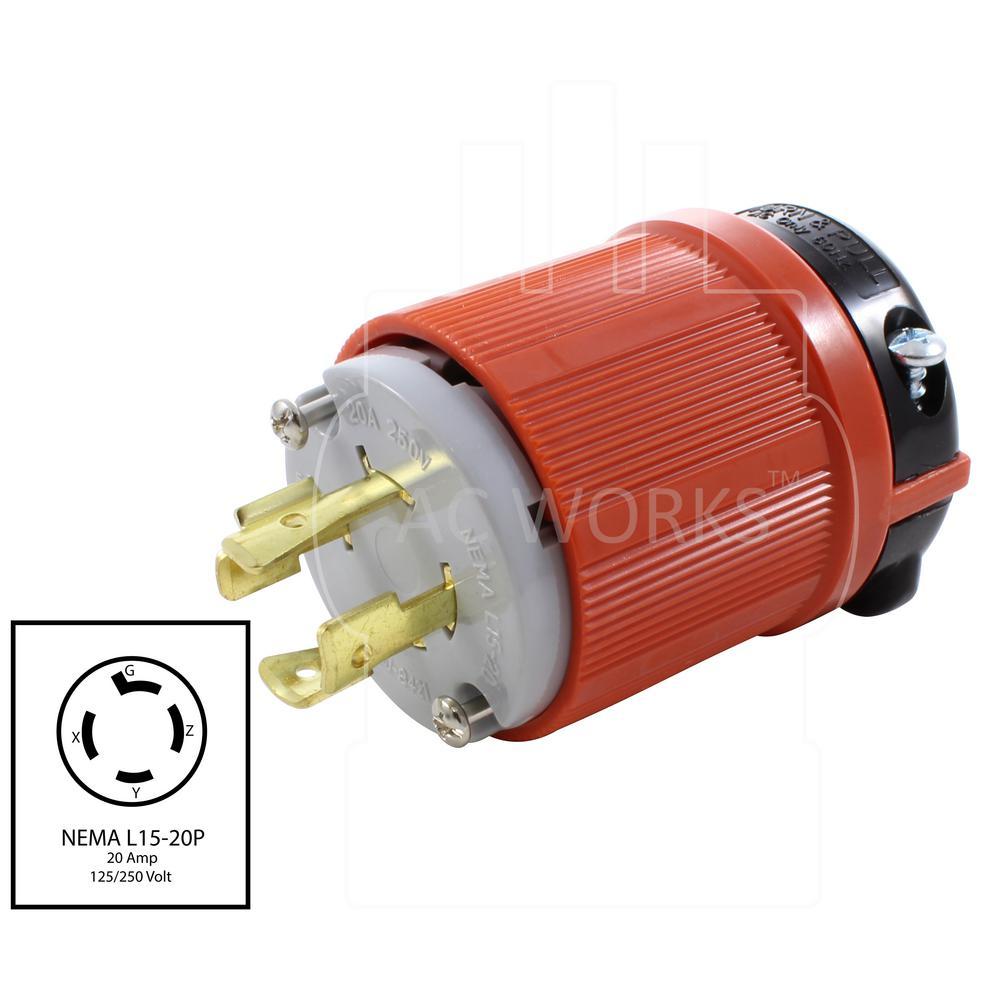 AC WORKS NEMA L15-20P 3-Phase 20 Amp 250-Volt 4-Prong Assembly Locking Male  Plug-ASL1520P - The Home DepotThe Home Depot