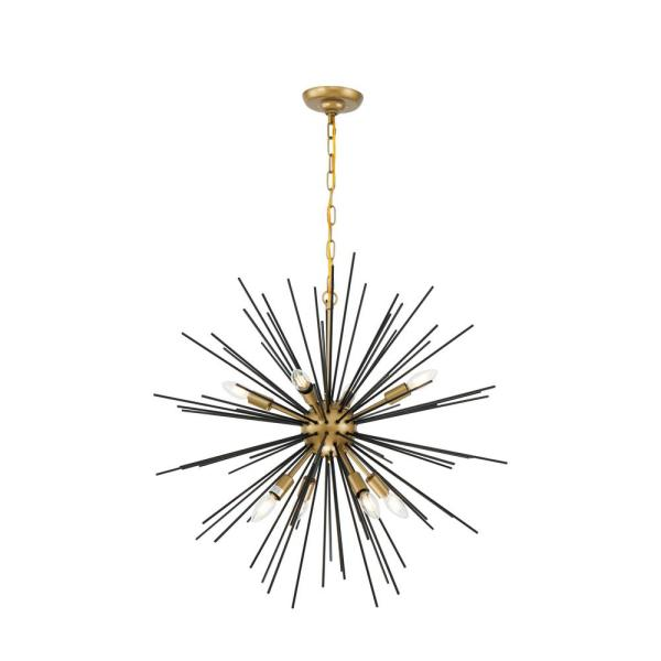 Timeless Home Taniya 30 in. W x 29 in. H 8-Light Brass and Black Pendant
