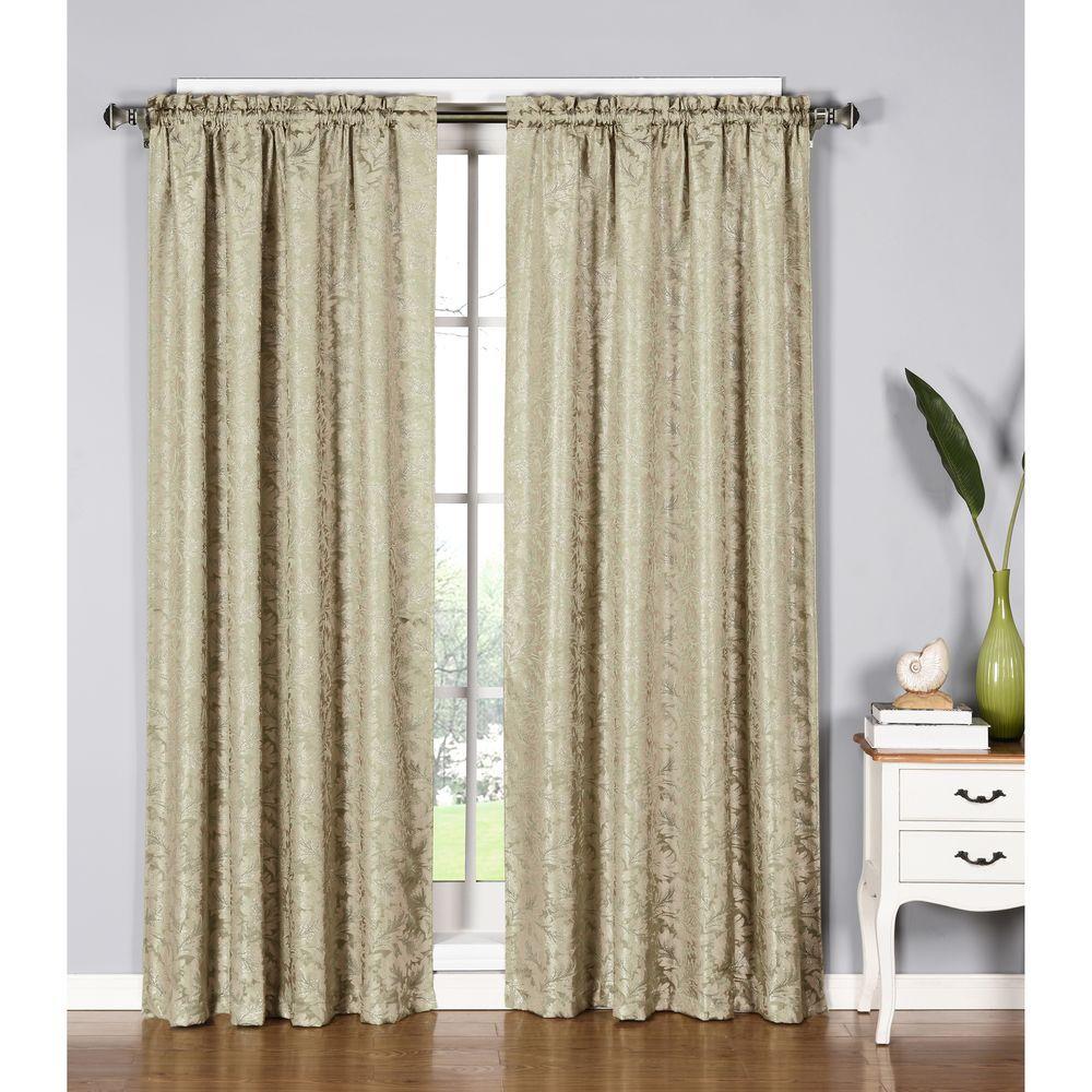 Window Elements Semi-Opaque Dawson Shimmering Leaf 54 inch W x 84 inch L Rod Pocket Extra Wide Curtain Panel in Ivory by Window Elements