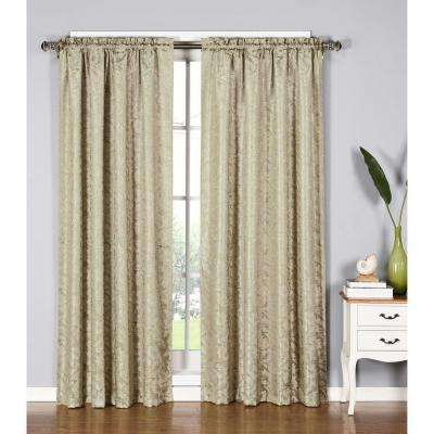 Semi-Opaque Dawson Shimmering Leaf 54 in. W x 84 in. L Rod Pocket Extra Wide Curtain Panel in Ivory