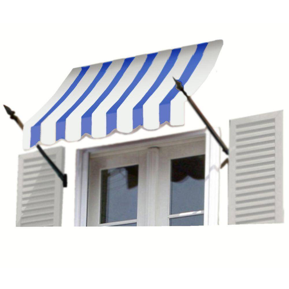 AWNTECH 8 ft. New Orleans Awning (56 in. H x 32 in. D) in Bright Blue / White Stripe