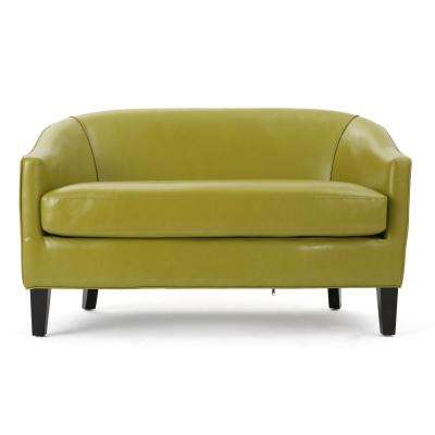 Justine Green Leather Loveseat