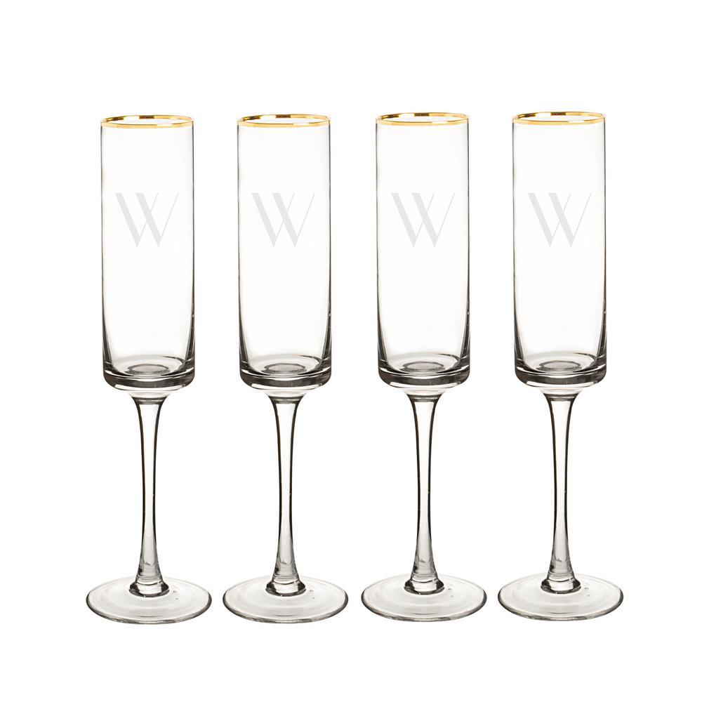 Personalized Gold Rim Contemporary Champagne Flutes - W