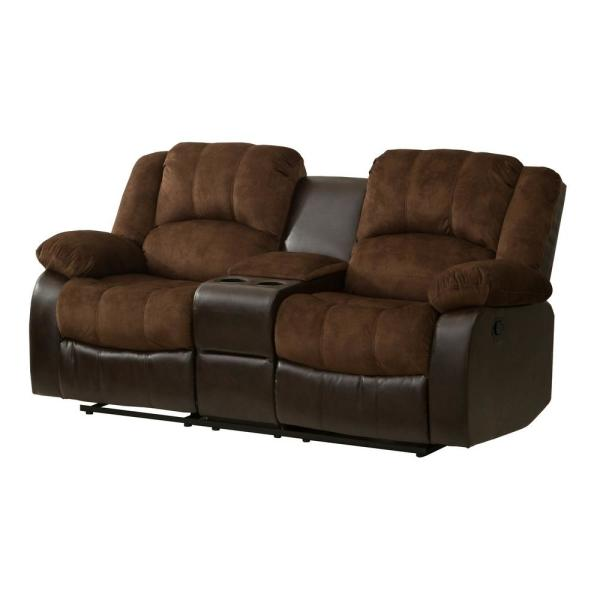 Prime Chocolate Champion And Pu Motion Loveseat 2 Reclining Seats And Console Gmtry Best Dining Table And Chair Ideas Images Gmtryco