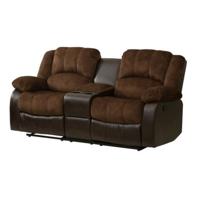 Chocolate Champion and PU Motion Loveseat (2 Reclining Seats) and Console
