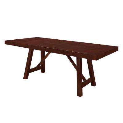 60 in. Espresso Solid Wood Trestle Dining Table