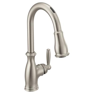 U by Moen Brantford Single-Handle Pull-Down Sprayer Smart Kitchen Faucet with Voice Control in Spot Resist Stainless
