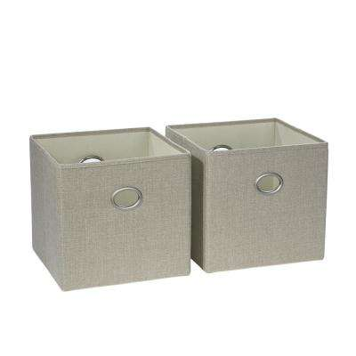 10.5 in. x 10 in. Beige Folding Storage Bin (2-Pack)