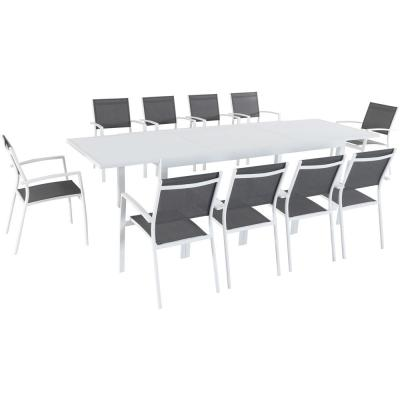 Del Mar 11-Piece Aluminum Outdoor Dining Set with 10 Sling Chairs and Expandable Dining Table