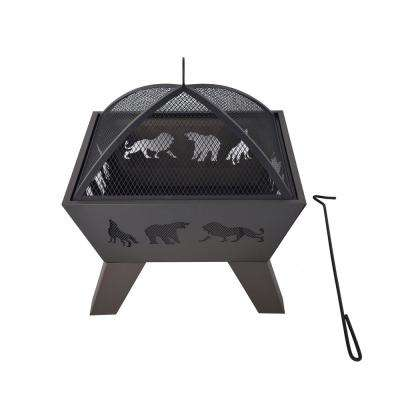 26 in. x 26 in. Square Safari Design Steel Wood Burning Fire Pit Kit in Black with Spark Screen and Poker
