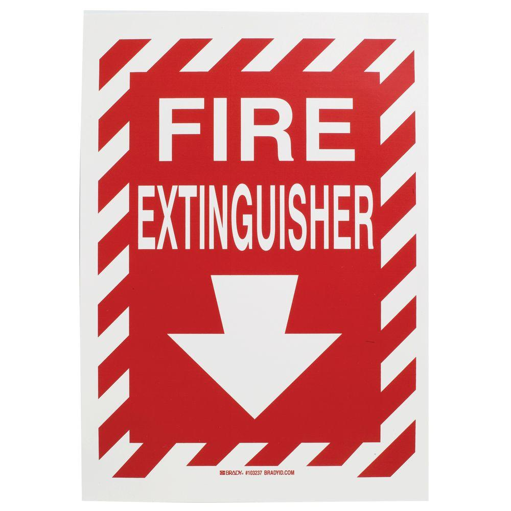 image about Printable Fire Extinguisher Sign identified as Brady 14 within. x 10 in just. Polyester Fireplace Extinguisher with Arrow Signal