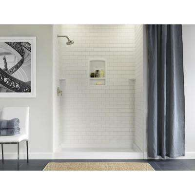 36 in. x 62 in. x 72 in. 3-piece Solid Surface Subway Tile Easy Up Adhesive Alcove Shower Surround in White