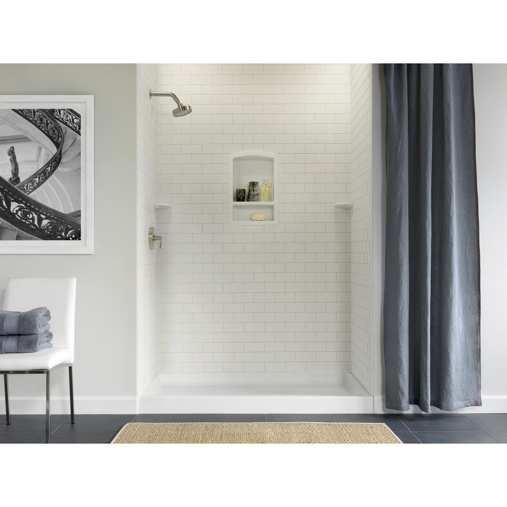 Swan 36 In X 62 72 3 Piece Solid Surface Subway Tile Easy Up Adhesive Alcove Shower Surround White
