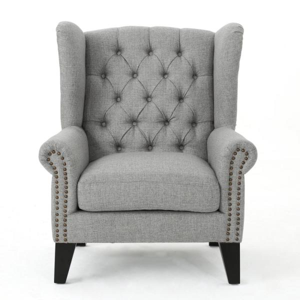 Laird Grey and Dark Brown Tufted Winged Accent Chair