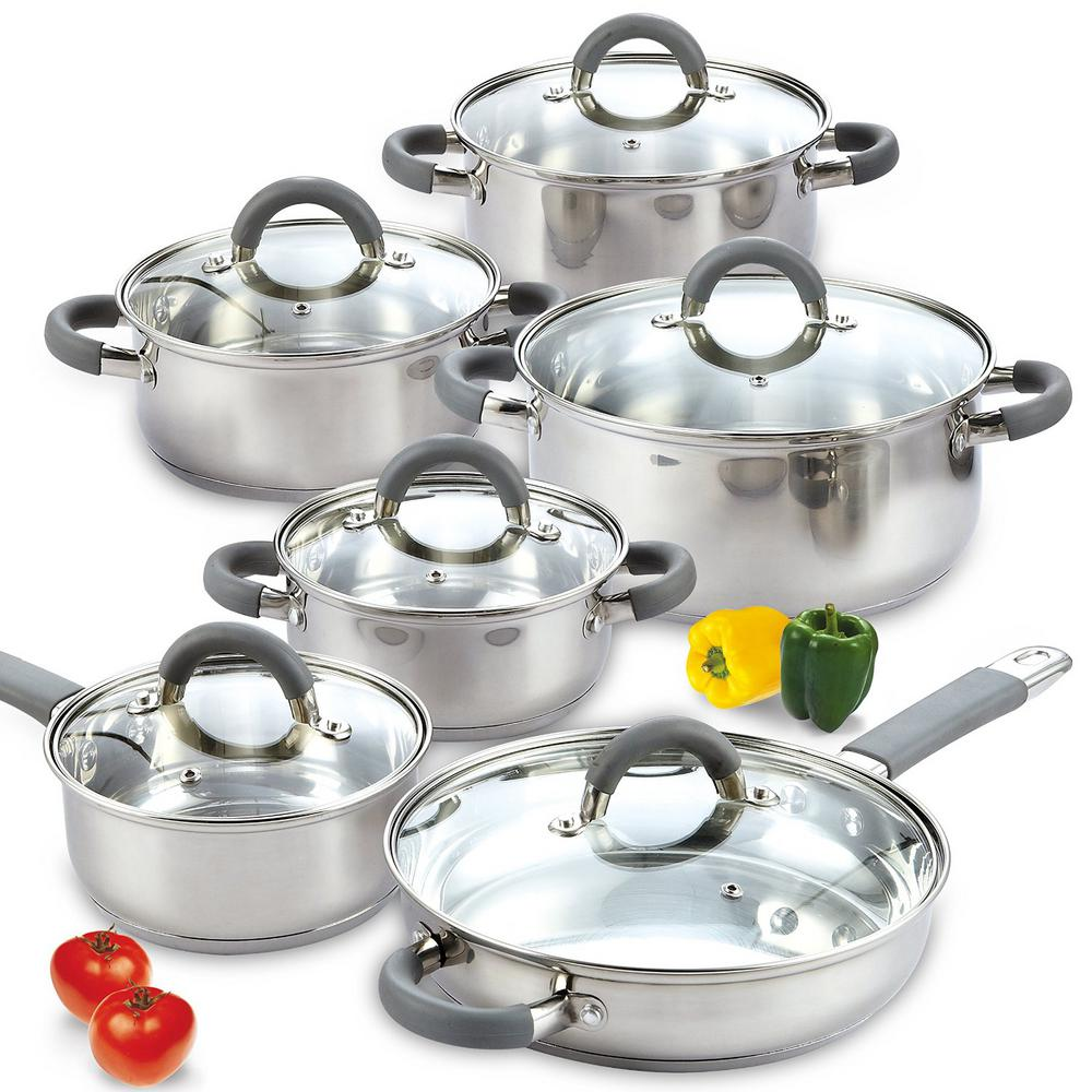 Cook N Home 12 Piece Silver Cookware Set With Lids 02410