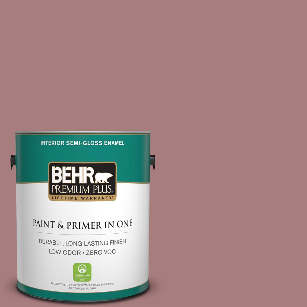 1-gal. #140F-4 Bedford Brown Zero VOC Semi-Gloss Enamel Interior Paint