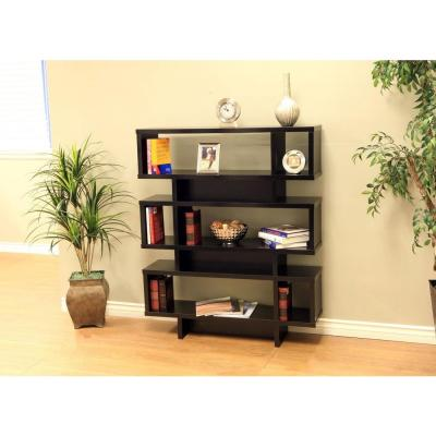 44.1 in. Black Wood 3-shelf Accent Bookcase with Adjustable Shelves