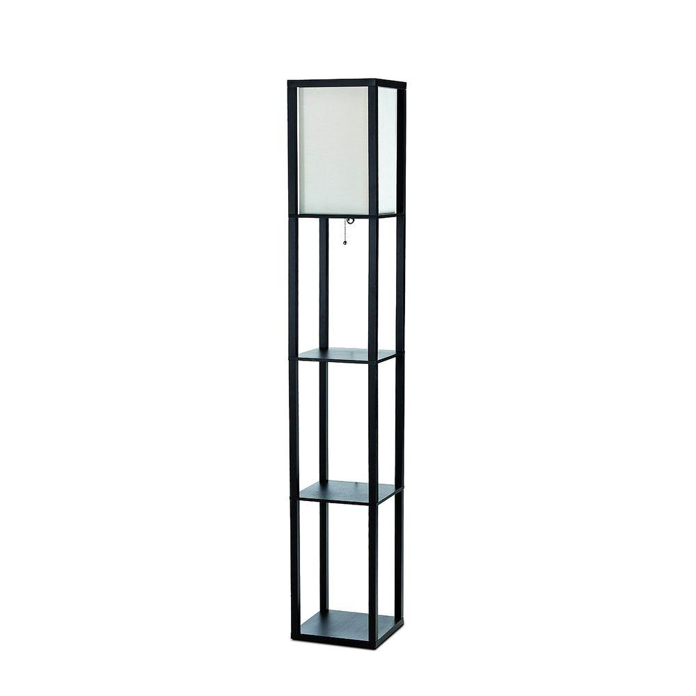 Simple Designs 63.3 in. Etagere Black Floor Lamp Organizer Storage Shelf with Linen Shade