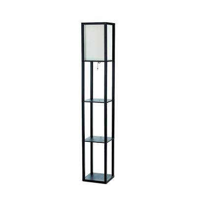 63.3 in. Etagere Black Floor Lamp Organizer Storage Shelf with Linen Shade