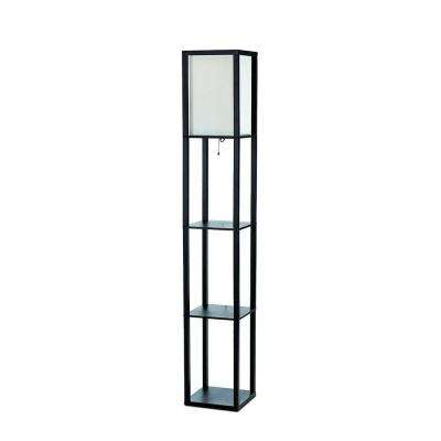 Beau Etagere Black Floor Lamp Organizer Storage Shelf With Linen Shade