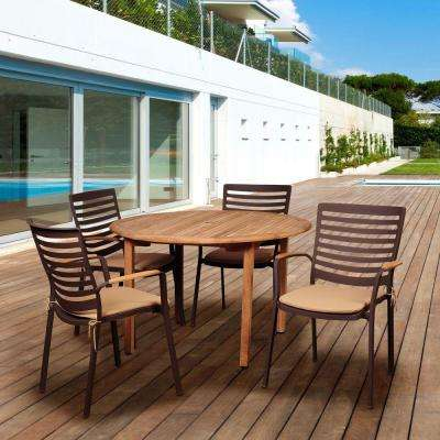 Davie 5-Piece Teak/Cast Aluminum Round Patio Dining Set with Tan Cushions