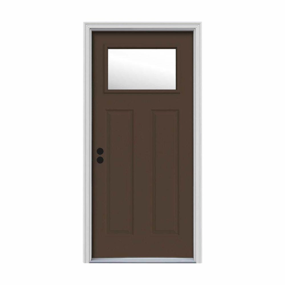 JELD-WEN 30 in. x 80 in. 1 Lite Craftsman Dark Chocolate Painted Steel Prehung Right-Hand Inswing Front Door w/Brickmould