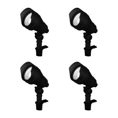 9.8-Watt Millennium Black Adjustable Light Color Outdoor Integrated LED Landscape Flood Light (4-Pack)
