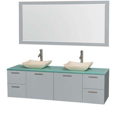 Amare 72 in. W x 22.25 in. D Vanity in Dove Gray with Glass Vanity Top in Green with Ivory Basins and 70 in. Mirror