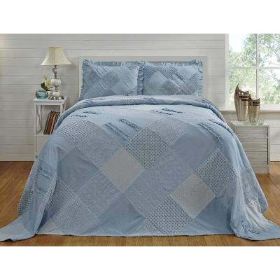 Ruffle Chenille 102 in. x 110 in. Queen bed spread blue