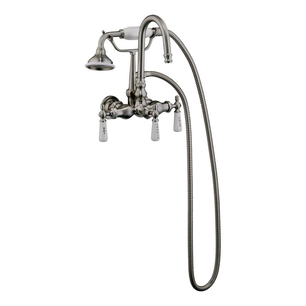 Pegasus 3 Handle Claw Foot Tub Faucet With Gooseneck Spout And Hand Shower  In Polished