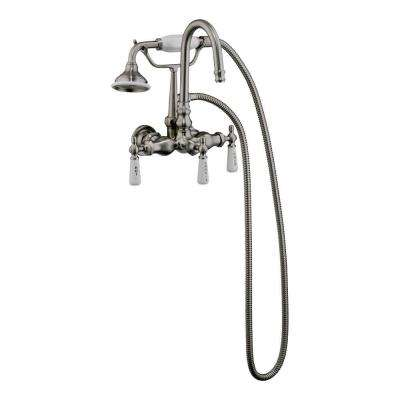 3-Handle Claw Foot Tub Faucet with Gooseneck Spout and Hand Shower in Polished Chrome