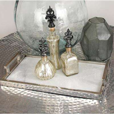 Metallic Aluminum and Marble Tray with Bar Handles