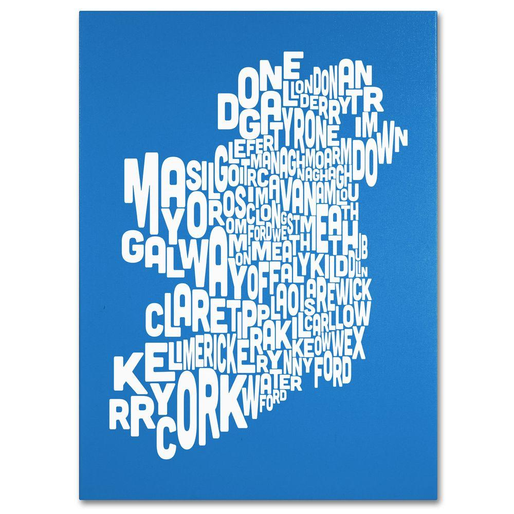 null 24 in. x 32 in. Ireland Text Map - Summer Canvas Art