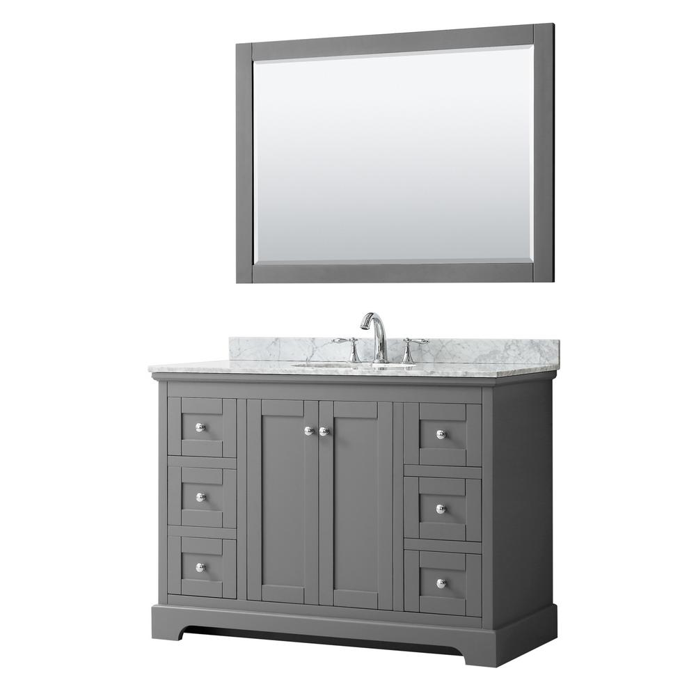 Wyndham Collection Avery 48 in. W x 22 in. D Bath Vanity in Dark Gray with Marble Vanity Top in White Carrara with White Basin and Mirror