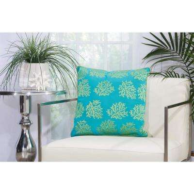 Corals 18 in. x 18 in. Turquoise and Green Indoor and Outdoor Pillow
