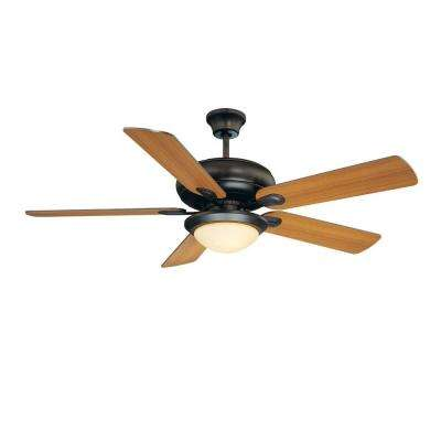 52 in. English Bronze Ceiling Fan with Light