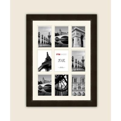 9-Opening 4 in. x 6 in. White Matted Espresso Photo Collage Frame