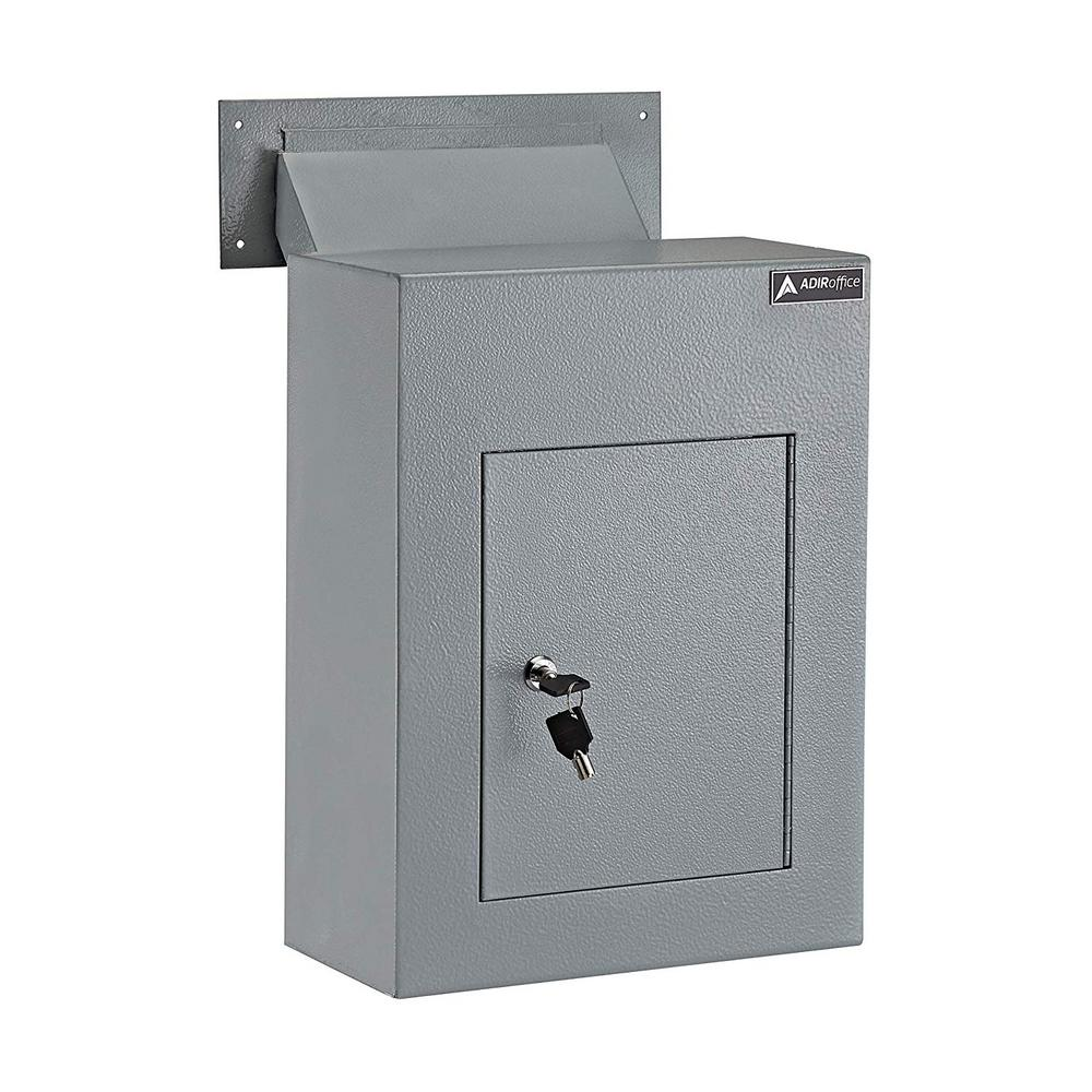 AdirOffice Grey Steel Through the Wall Drop Box with Adjustable Chute Mail Receptacle