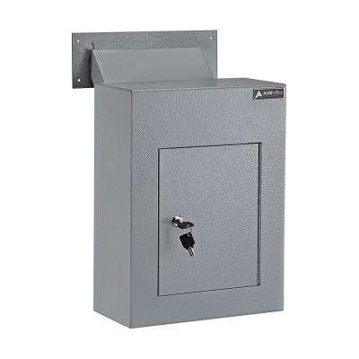 Grey Steel Through the Wall Drop Box with Adjustable Chute Mail Receptacle