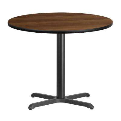 36 in. Round Walnut Laminate Table Top with 30 in. x 30 in. Table Height Base