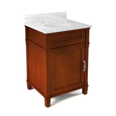 Williamsburg 25 in. W x 22 in. D Vanity in Chestnut with Marble Vanity Top in White with White Basin