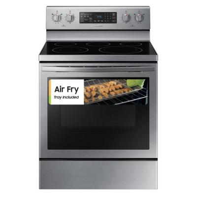 30 in. 5.9 cu. ft. Single Oven Electric Range with Air Fry, True Convection in Stainless Steel