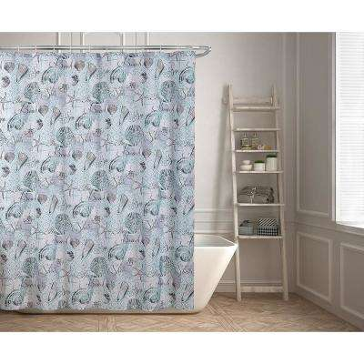Marina 70 in. Beach and Seashells Design Shower Curtain