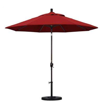 9 ft. Aluminum Push Tilt Patio Umbrella in Red Pacifica