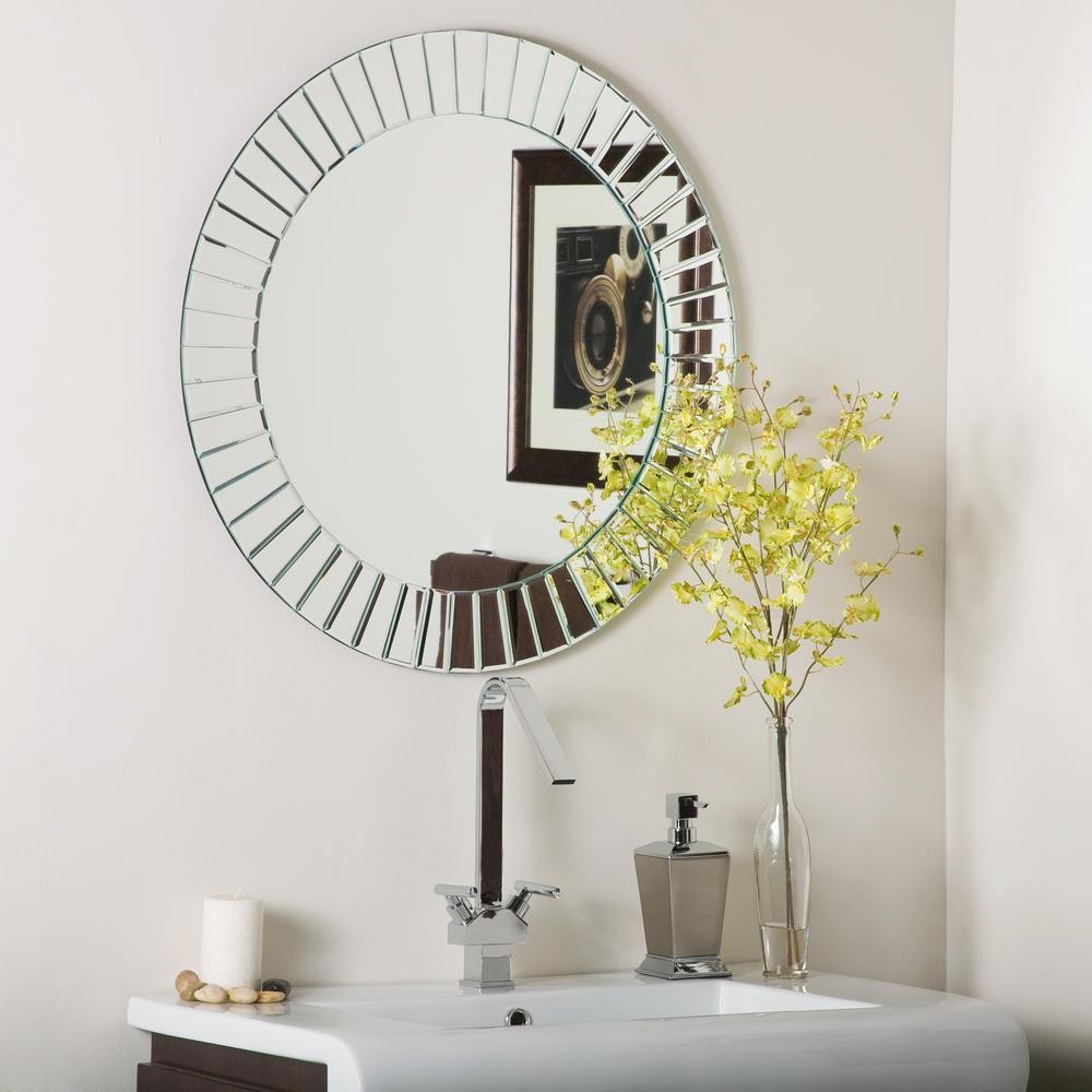 27.6 in. W x 27.6 in. H Frameless Round Beveled Edge Bathroom Vanity Mirror in Silver