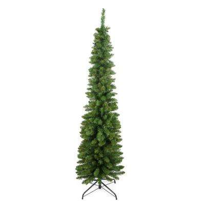 6 ft. x 20 in. Traditional Green Pine Pencil Artificial Christmas Tree Unlit