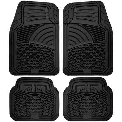 Black 4-Piece Set Tactical Heavy Duty Rubber Floor Mat