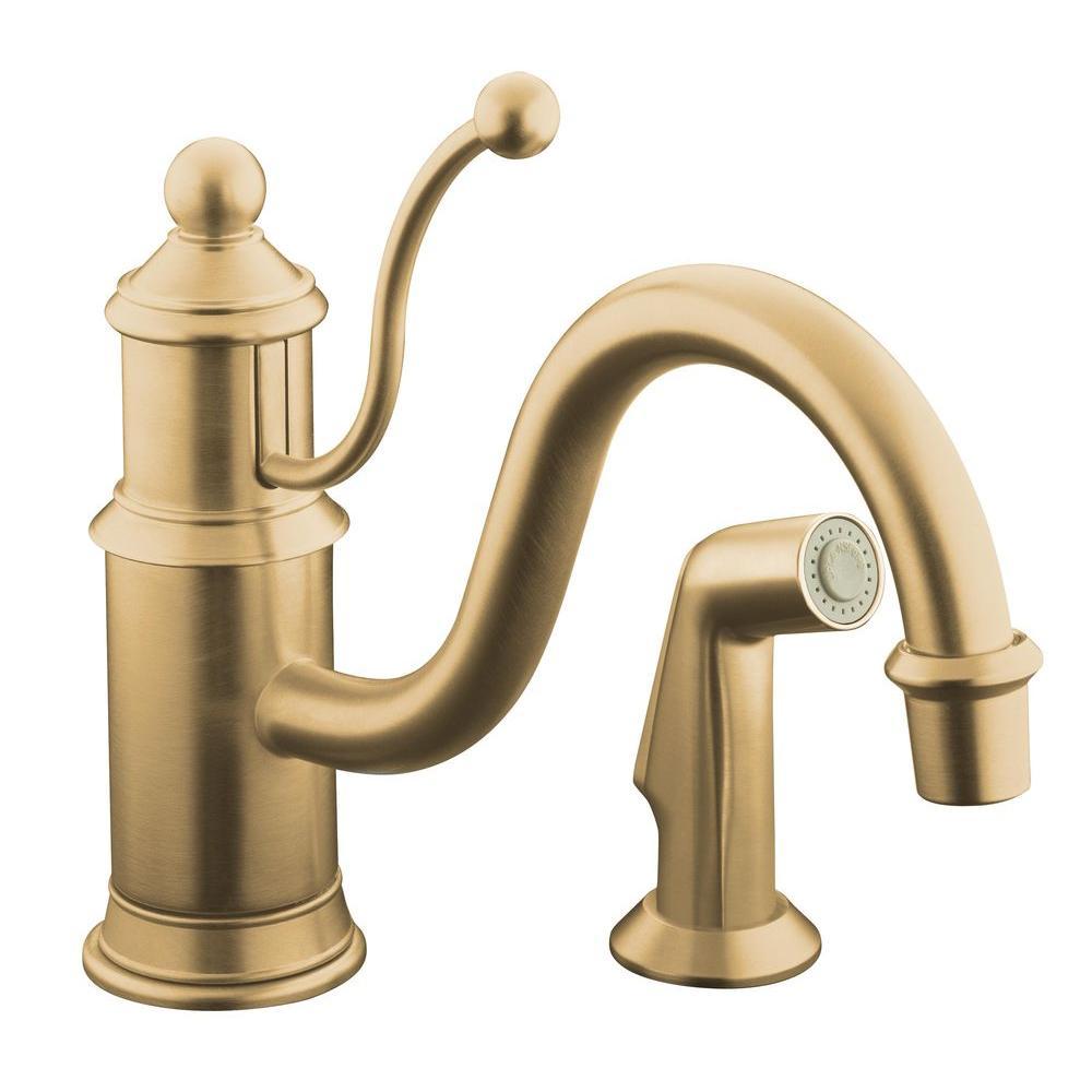 KOHLER Antique Single-Handle Side Sprayer Kitchen Faucet in Vibrant Brushed-Bronze-DISCONTINUED